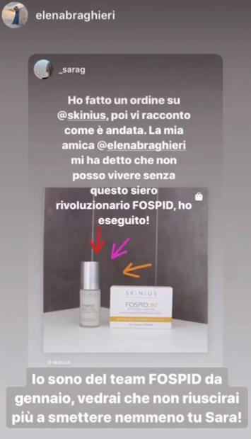 Elena Braghieri e le sue recesioni su FOSPID siero multifunzione di Skinius