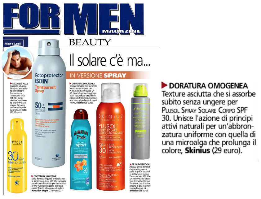 PLUSOL spray solare SPF30 - le opinioni di FOR MEN