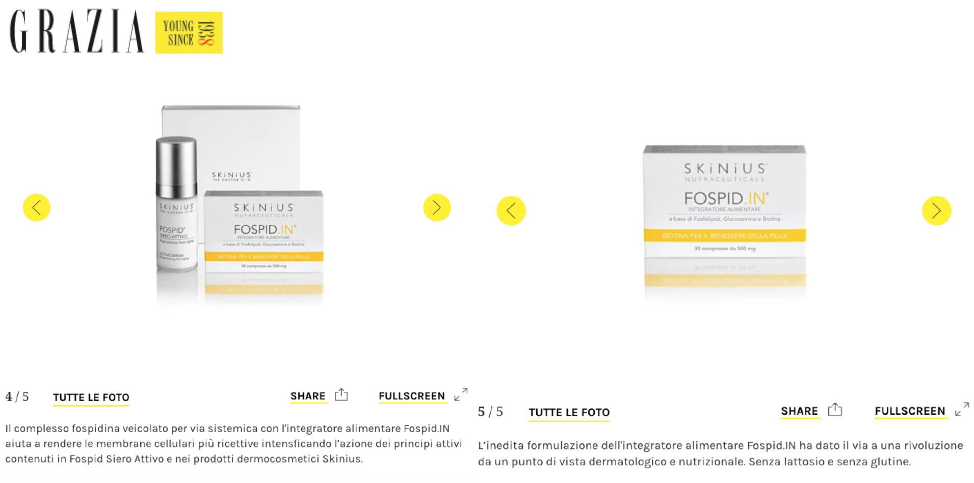 Fospid.IN integratore per la pelle con biotina: l'opinione di Grazia