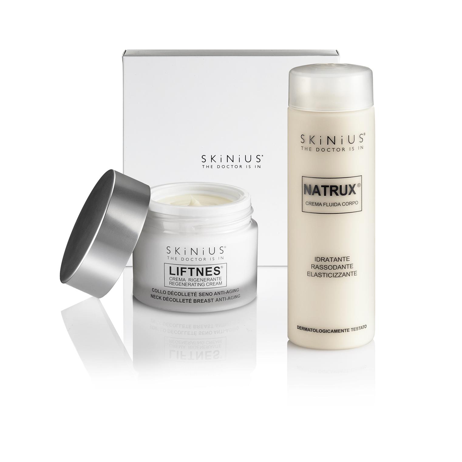 La crema antismagliature per il corpo e per il seno di Skinius aiutano a prevenire lassità cutanee e inestetismi come le smagliture