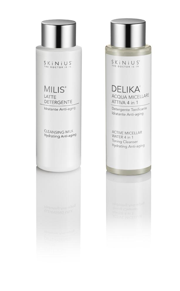 Pulizia viso per i Millennials con acqua micellare Delika o latte detergente Milis di Skinius